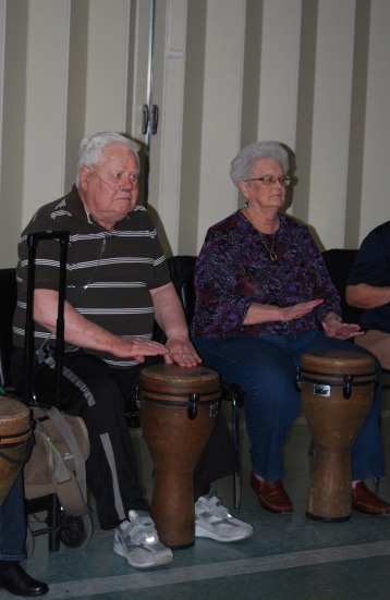 A couple of djembe drummers